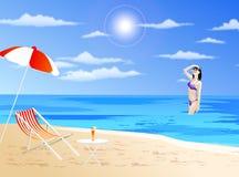 Menina em uma praia ilustração royalty free