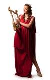 Menina em uma túnica vermelha imagens de stock