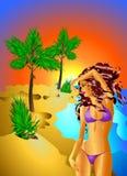 Menina em uma vista tropical Fotos de Stock