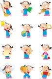 Menina em várias poses Imagem de Stock