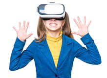 Menina em vidros de VR Imagem de Stock