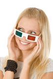 Menina em vidros estereofónicos Foto de Stock