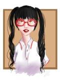 Menina em vidros vermelhos Imagem de Stock