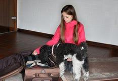 A menina embala sua mala de viagem imagens de stock