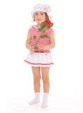 Menina encantador com a flor da rosa do vermelho Imagem de Stock Royalty Free