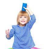 Menina encantador em um vestido azul Foto de Stock
