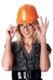 A menina encantador o construtor Fotos de Stock Royalty Free