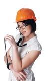 Menina encantador o construtor fotografia de stock royalty free