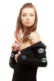 Menina encantadora com heart-shaped Imagem de Stock