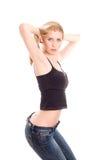 Menina encantadora na calças de ganga fotos de stock
