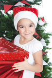 Menina encantadora no tempo do Natal Imagens de Stock Royalty Free