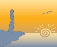 A menina encontra o nascer do sol Imagens de Stock Royalty Free