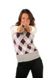 Menina engraçada com polegares acima Foto de Stock Royalty Free