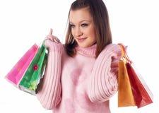 Menina engraçada de compra Imagem de Stock Royalty Free