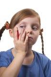 Menina engraçada de pensamento Fotografia de Stock