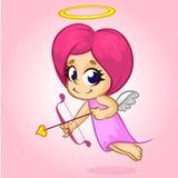 Menina engraçada do cupido que visa alguém Ilustração do vetor de um dia de Valentim no fundo cor-de-rosa Imagem de Stock