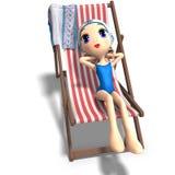 Menina engraçada e bonito dos desenhos animados Imagens de Stock