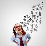 Menina engraçada em vidros vermelhos Imagens de Stock Royalty Free