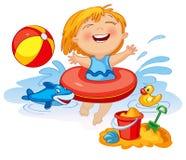 A menina engraçada nada em um mar Foto de Stock Royalty Free