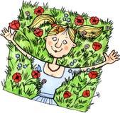 Menina engraçada que relaxa em um campo ilustração royalty free