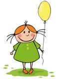 Menina engraçada com balão Imagens de Stock Royalty Free