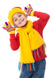 Menina engraçada na roupa do inverno Fotos de Stock Royalty Free