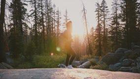 Menina entusiasmado bonita do turista com a trouxa que olha ao redor nas madeiras profundas do parque de Yosemite, apreciando o m filme