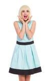 Menina entusiasmado do louro da elegância Fotos de Stock Royalty Free