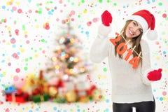 Menina entusiasmado na véspera de Ano Novo Foto de Stock Royalty Free