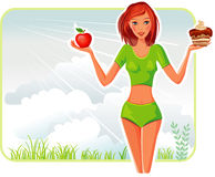 A menina escolhe entre uma maçã e um bolo Fotografia de Stock Royalty Free