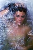 Menina escondida atrás do testes padrões translúcidos Imagens de Stock Royalty Free