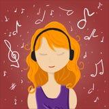 A menina escuta música ilustração stock