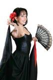 Menina espanhola com ventilador Fotos de Stock Royalty Free
