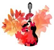A menina espanhola no vestido vermelho com plissados nas luvas no formulário das rosas, com o fã em sua mão, está dançando o flam ilustração stock