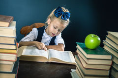 Menina esperta da escola que lê um livro na biblioteca Fotos de Stock