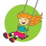 A menina está balanç Foto de Stock