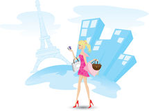 A menina está comprando com os cartões de crédito em Paris ilustração do vetor