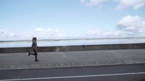 A menina está correndo atrás da câmera Movimento da manhã ao longo da terraplenagem vídeos de arquivo