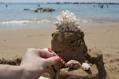 A menina está fazendo um castelo de areia com coral no Sandy Beach Imagens de Stock Royalty Free