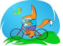 A menina está montando uma bicicleta, no ar fresco ao lado de uma borboleta bonita voa ilustração stock