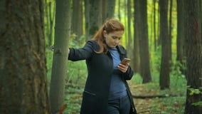 A menina está perto da árvore e escreve sms no telefone vídeos de arquivo