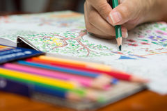 A menina está pintando em livros para colorir Imagens de Stock