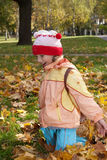 Menina Excited nas folhas de outono Foto de Stock