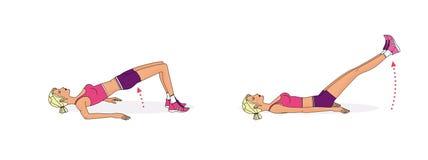 A menina executa os exercícios que balançam, girar, levantando para reforçar os músculos do corpo ilustração stock