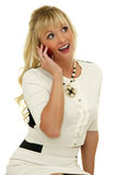 Menina expressivo com telemóvel Fotografia de Stock Royalty Free