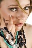 Menina eyed marrom de Jewelery Fotos de Stock