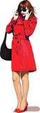 A menina fala o móbil ilustração royalty free
