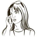 A menina fala pelo telefone móvel ilustração royalty free