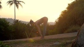 A menina faz a ioga do namaskara do surya no movimento lento da trilha da floresta vídeos de arquivo
