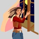 A menina fecha-se na janela como o vento pegarou, estrelas bonitas vistas da noite ilustração royalty free